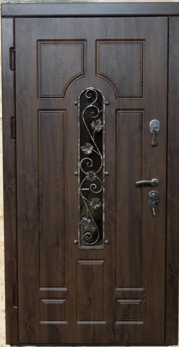 Входная уличная дверь (стеклопакет + ковка) модель Герда (два контура уплотнения)