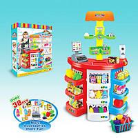 Игровой набор Супермаркет 38 аксессуаров (игровой набор магазин 922-05): касса, весы, продукты, свет + звук