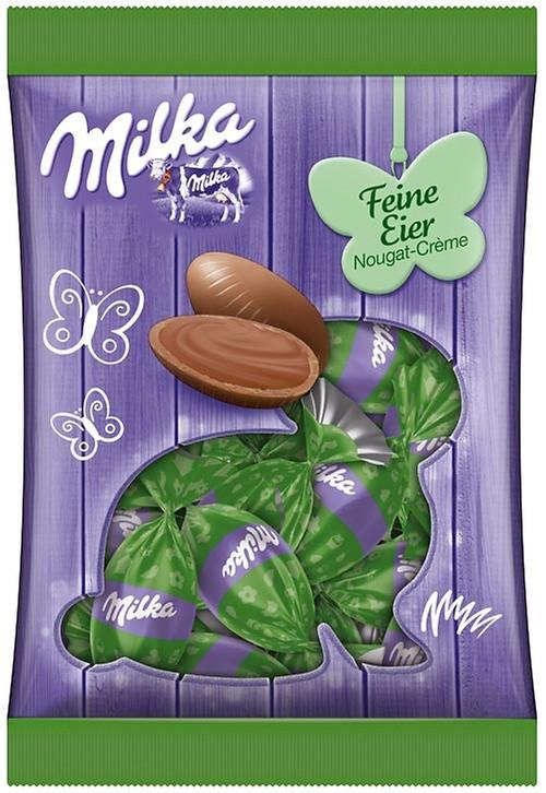 Шоколадные яички Milka «Feine Eier Nougat Crème» (С ореховым пралине), 90 г.