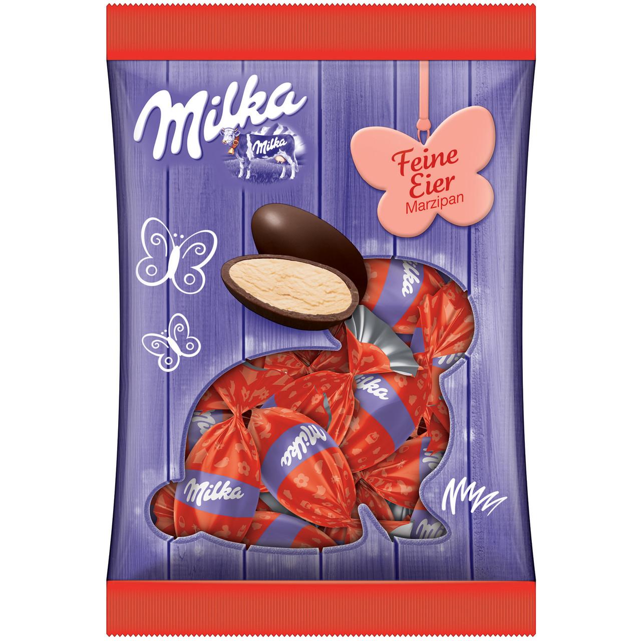 Шоколадные яички Milka «Feine Eier Marzipan» (С марципановой начинкой), 90 г.