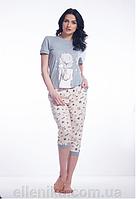 Пижама женская ELLEN футболка + бриджи (девочка с котиком)