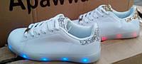 Оригинальные светящиеся LED кроссовки (р 36-41)серебро