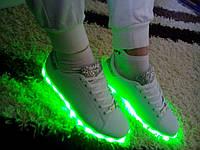 Шикарные светящиеся LED кроссовки (р 36-41)серебро