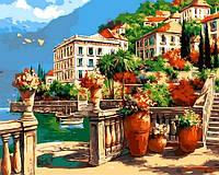 Картины по номерам 40×50 см. Средиземноморская веранда , фото 1