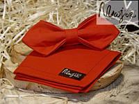 Набор тканевой бабочки с нагрудным платком красного цвета Ретро
