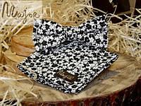 Набор тканевой бабочки с нагрудным платком черно-белого цвета в цветочный принт Классик1