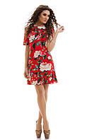 Льняное летнее Платье цветочный принт красное