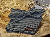 Набор тканевой бабочки с нагрудным платком в бирюзово-черную гусиную лапку Ретро