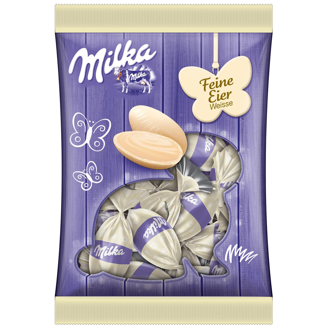 Шоколадні яєчка Milka «Feine Eier Weisse» (Білий шоколад), 90 р.