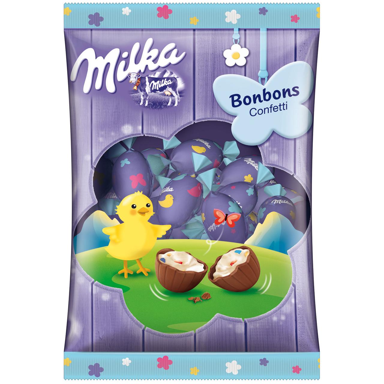 Шоколадные яички Milka «Bonboss Confetti Ostern» (С молочным кремом и сахарным конфетти), 86 г.