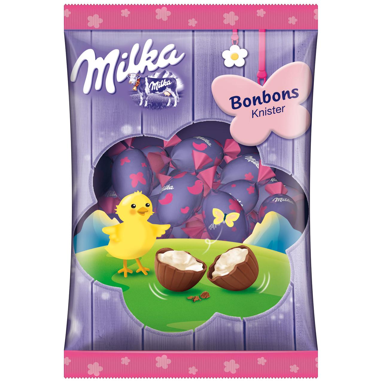 Шоколадные яички Milka «Bonboss Knister Ostern» (С молочным кремом и шипучими гранулами), 86 г.