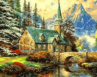 Картины раскраски по номерам 40×50 см. Альпийский пейзаж Часовня Художник Томас Кинкейд, фото 1