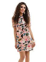 Льняное летнее Платье цветочный принт пудра