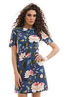 Льняное летнее Платье цветочный принт синее