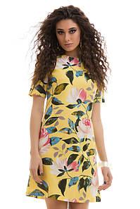 Льняное летнее Платье цветочный принт желтое
