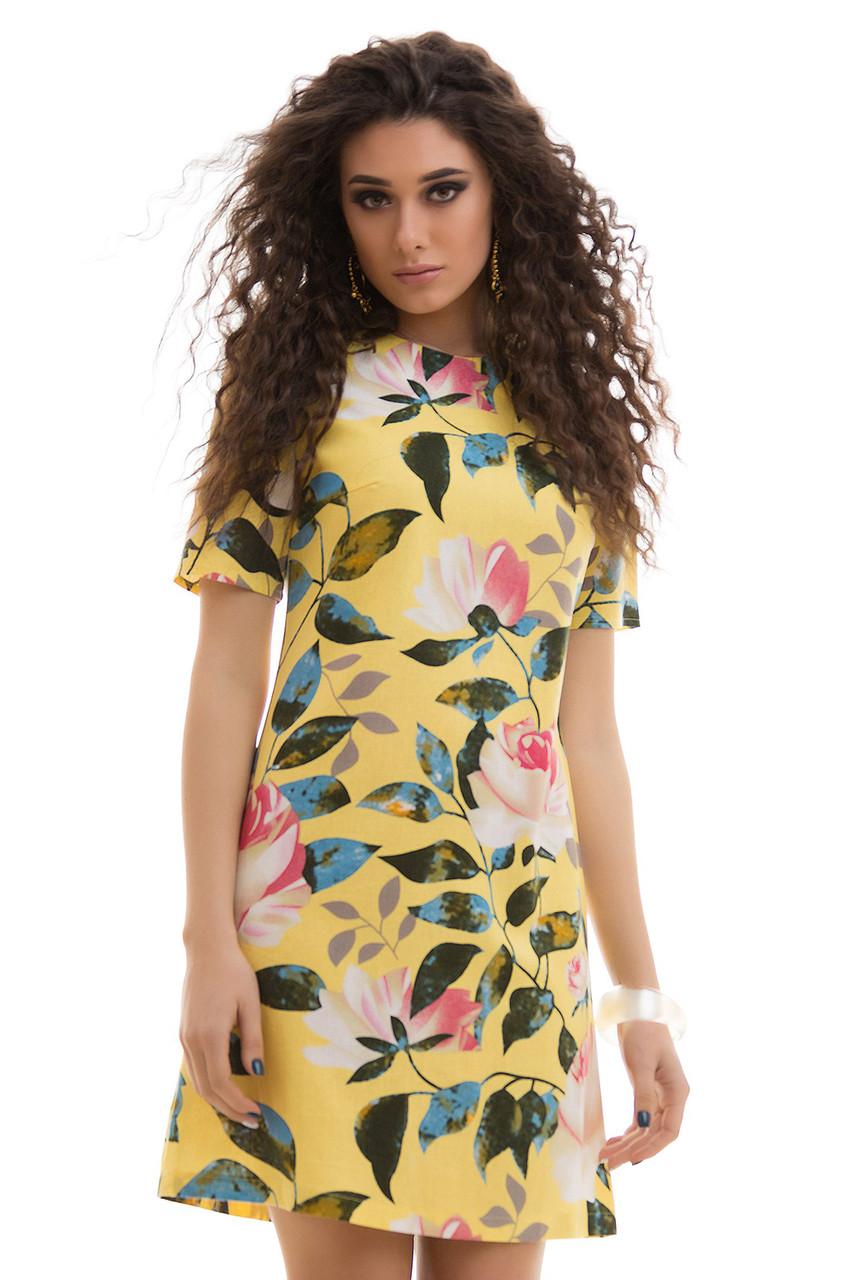 c8923a12b0ca Льняное летнее Платье цветочный принт желтое - LILIT ODESSA  оптово-розничный магазин женской одежды в