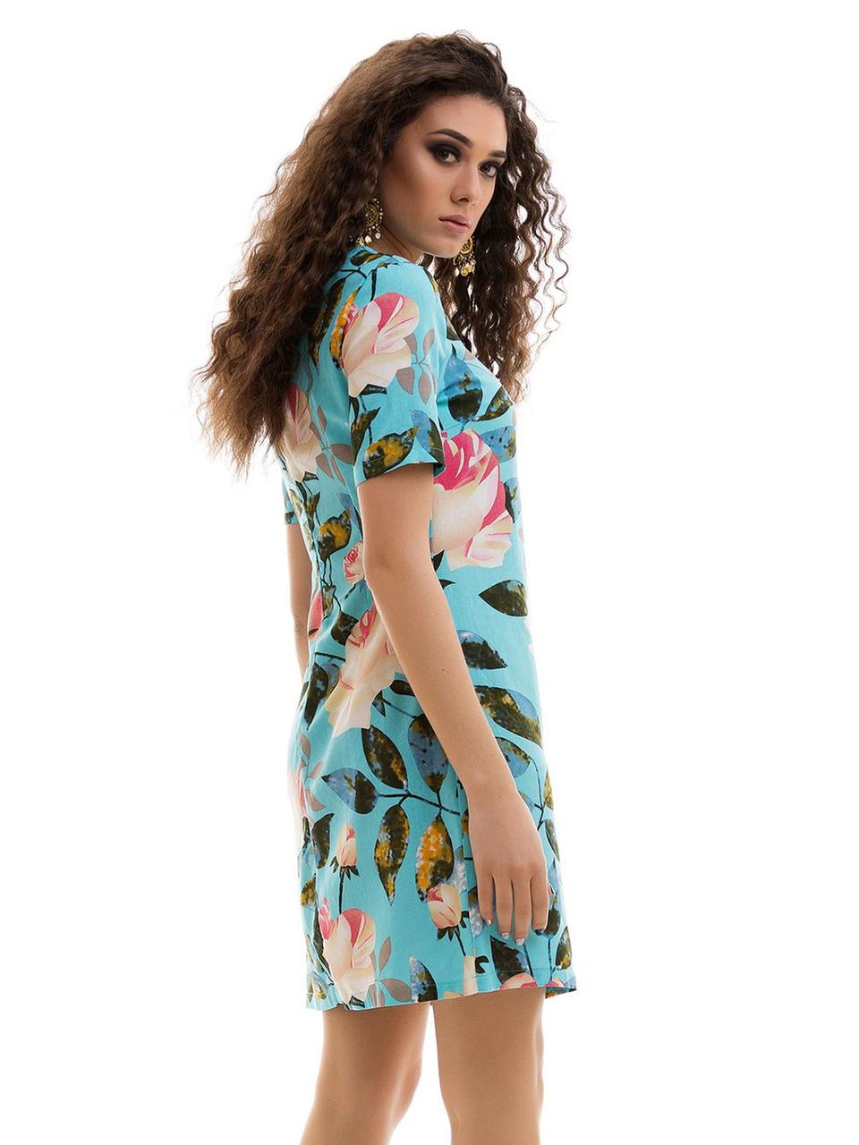 fe9bedb8b91f4a7 Льняное летнее Платье цветочный принт голубое: продажа, цена в ...
