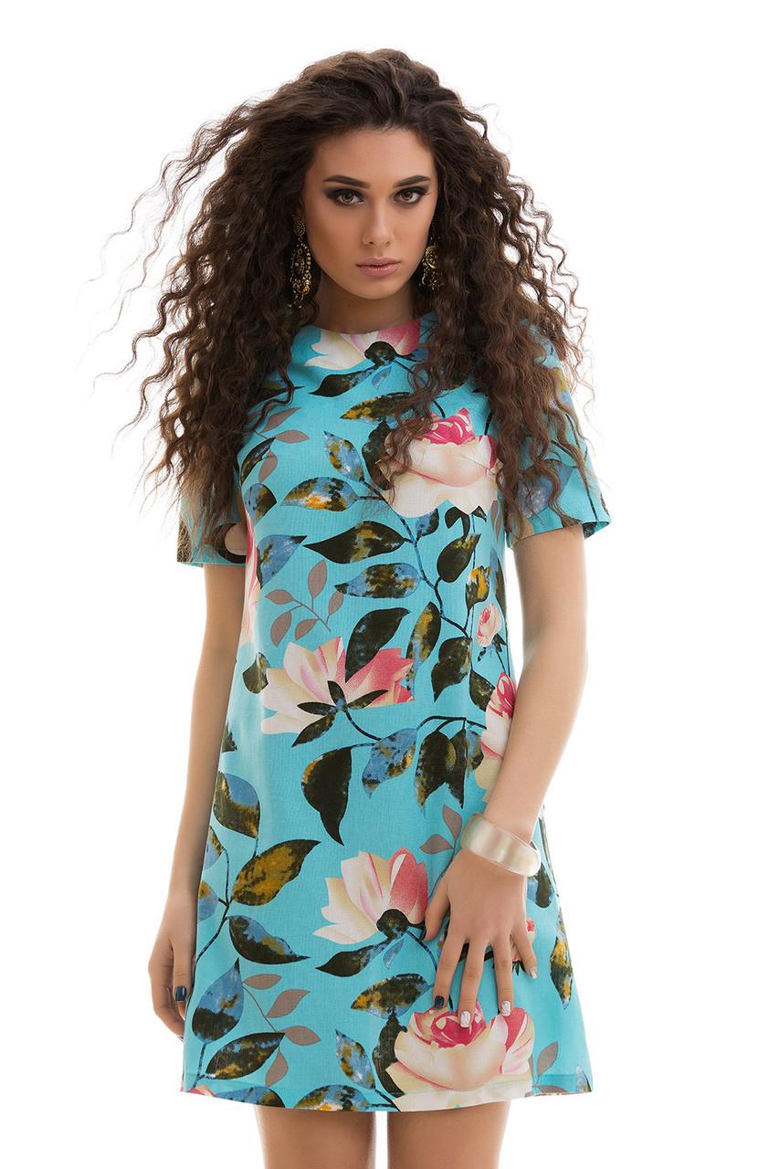 Льняное летнее Платье цветочный принт голубое