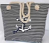 Пляжная сумка в синию полоску с рисунком якоря