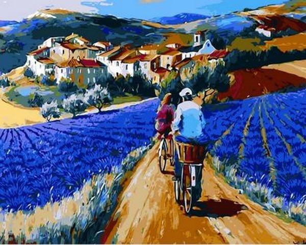 Раскраски для взрослых 40×50 см. Прогулка по лавандовым полям Художник Кристиан Жекель
