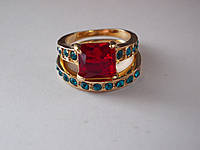 Двойное кольцо,Рубин 8 х 8 мм,22 Аквамарина-17.3 р-18k GP -ИНДИЯ