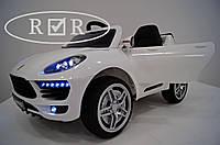 Детский электромобиль КХ7878 Porsche Порше Макан на резиновых EVA колёсах, Кожа, дитячий електромобіль, белый