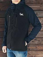 Куртка мужская весенняя  STF Soft Shell black and navy черная с капюшоном (осень-весна, демисезонная)