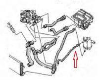 Патрубок от компенсационного бачка к радиатору двигателя KANGOO 1.9 DCI до 2008г.Производитель:Sasic.