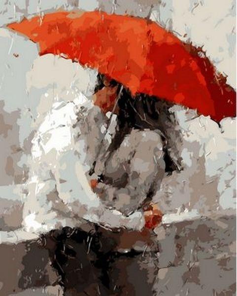 Картины по номерам 40×50 см. Красный зонт Художник Андре Кон