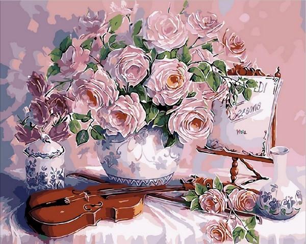 Раскраски для взрослых 40×50 см. Скрипка и розовый букет ...