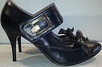 Туфли женские натуральная кожа р39 IGLS 3161 черные TONI