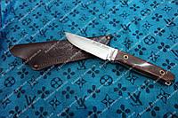Мощный нож с цельным клинком Хищник  с кожаными ножнами