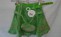 Детская юбка для девочки 4-8 лет,зеленая