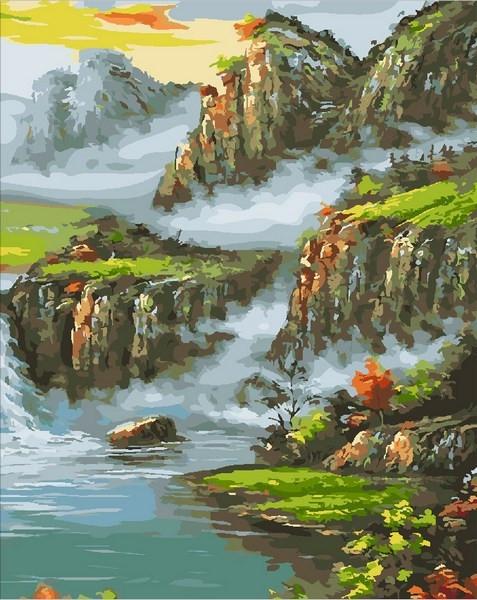 Картины по номерам 40×50 см. Страна водопадов