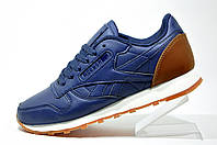 Кроссовки унисекс Reebok Classic Leather, Dark Blue\Brown