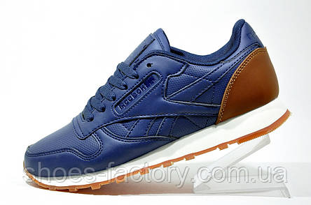 Кроссовки унисекс Reebok Classic Leather, Dark Blue\Brown, фото 2