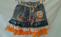 Джинсовая детская юбка  для девочки 4-8 лет,синяя