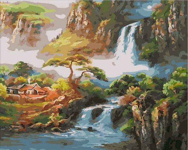 Картины по номерам 40×50 см. Китайская деревушка