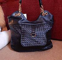 Сумка женская вместительная черная плетеная Chanel