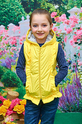 Детская жилетка для девочки желтая р. 104-122, фото 2