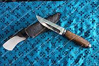 Универсальный охотничий нож ,рукоять кап березы ,Кожаные ножны ,крепкий клинок