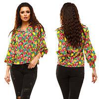 """Женская стильная свободная короткая блузка """"Креп Трапеция Гранат"""" (46-177)"""