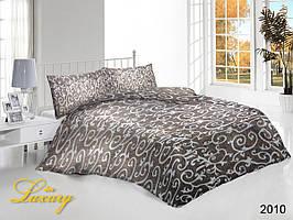 Двуспальный набор постельного белья «Белые вензеля на кофейном фоне»