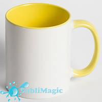 Чашка сублимационная цветная внутри ЖЁЛТАЯ