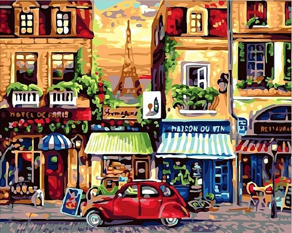 Картины по номерам 40×50 см. Улочки Парижа