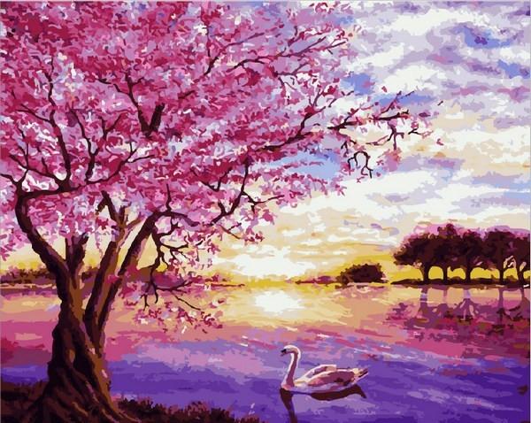 Картины по номерам 40×50 см. Закат в розовых тонах Художник Энн Мари Бон