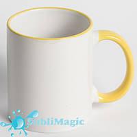 Чашка сублимационная цветной ободок ЖЁЛТЫЙ