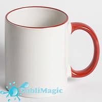 Чашка сублимационная цветной ободок КРАСНЫЙ