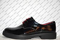 Туфли оксфорды женские без каблука лаковые черные