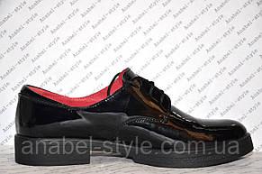 Туфли оксфорды женские без каблука лаковые черные, фото 2